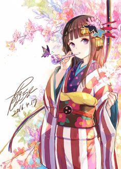 Cute Anime Pics, Anime Girl Cute, Beautiful Anime Girl, Kawaii Anime Girl, Anime Art Girl, Anime Girls, Anime Girl Kimono, Manga Girl, Yukata