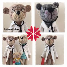 stokrotka: Lekarze ./ Doctors Crochet Teddy, Crochet Toys, Teddy Bear, Animals, Inspiration, Love, Biblical Inspiration, Animales, Animaux