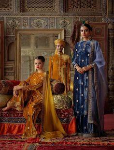 Sabyasachi Velvet Kurta Palazzo Set Mustard Blue - pinupi love to share Pakistani Fashion Party Wear, Pakistani Dress Design, Pakistani Dresses, Indian Dresses, Indian Outfits, Indian Fashion, Gypsy Dresses, Pakistani Suits, Women's Fashion