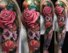 tattoo blumen, große tätowierung an den ganzen arm, sleeve tattoo