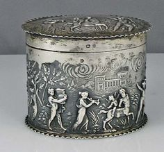 Antique German silver figural tea caddy with hinged lid, circa 1899
