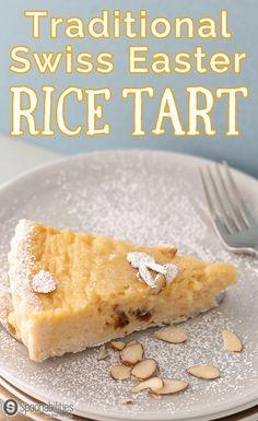 Traditional Swiss Easter Rice Tart is a custard type dessert recipe with rice pudding, lemon, raisin, amaretto liquor and ground almond. Spoonabilities.com via @Spoonabilities