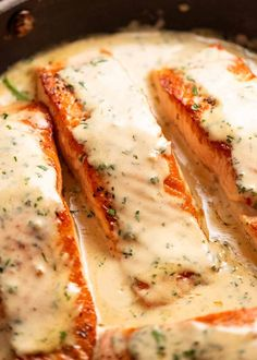Close up of Creamy Herb & Garlic Salmon Sauce in a skillet, fresh off the stove Easy Salmon Recipes, Fish Recipes, Seafood Recipes, Easy Dinner Recipes, Cooking Recipes, Best Ever Salmon Recipe, Salmon Meals, Dinner Ideas, Top Recipes