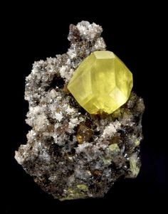 Sulfur on Aragonite Sicily Italy small cabinet Francis Benjamin isolated crystal Natural Crystals, Stones And Crystals, Gem Stones, Natural Stones, Minerals And Gemstones, Rocks And Minerals, Rocks And Gems, Crystal Cluster, Shells
