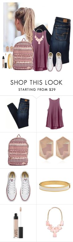 """Untitled #759"" by aubreyspringer ❤ liked on Polyvore featuring American Eagle Outfitters, RVCA, Billabong, Nocturne, Converse, Halcyon Days, NARS Cosmetics and Kendra Scott"