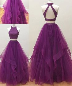 Simple High Neck Two Piece Purple Prom Dress,Open Back Tulle Evening Dress, Shop plus-sized prom dresses for curvy figures and plus-size party dresses. Ball gowns for prom in plus sizes and short plus-sized prom dresses for Prom Dresses Two Piece, Simple Prom Dress, Tulle Prom Dress, Grad Dresses, Prom Party Dresses, Homecoming Dresses, Formal Dresses, Purple Prom Dresses, Long Dresses