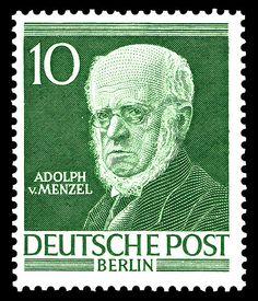 Briefmarkenserie Männer aus der Geschichte Berlins I, Adolph von Menzel, (1815-1905)
