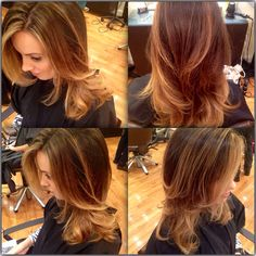 Honeyblonde Balayage and highlights on a long layered haircut
