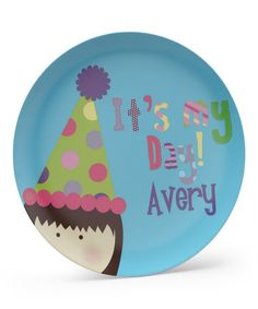 This 'It's My Day!' Brown-Haired Girl Personalized Plate is perfect! #zulilyfinds