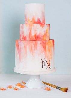 Gallery Love Wedding Cake to match design by Melanie Severin for Minted