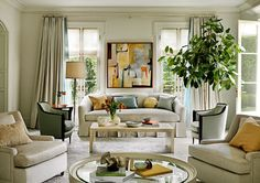 """Barbara Barry explains when it comes to choosing a sofa, color will dictate the mood of the entire room. Often acting as a main focal point of a space, a sofa has the power to incite a certain atmosphere that will be evident to any person who enters. Barry explains, """"To establish calm, I upholster sofas in a solid that's the same color as the walls and curtains."""" Be careful in choosing a sofa, make sure the color compliments the room in the way you would like it to, creating the desired…"""