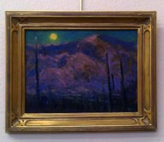 """""""Moonrise Mountain"""" by Joe Orr. I will be featuring his series of desert moonscape oil paintings at my open studio jewelry sale, Nov. 9th&am..."""
