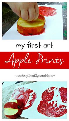 This apple print fall art activity is easier for toddlers because we carve a handle into the apple. Fun process art! From Teaching 2 and 3 Year Oldstok