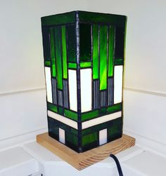 30s inspired stained glass lamp