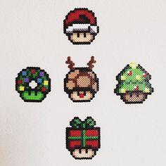 Christmas mushrooms perler beads by dominoez