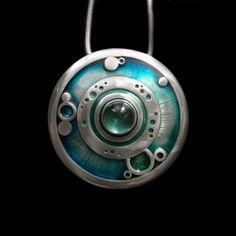 Circles pendant. Tourmaline, silver, resin - by Abi Cochran - Silverspirals. https://www.facebook.com/silverspirals.co.uk