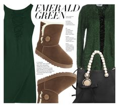 """""""Emerald City : Pops Of Green"""" by fattie-zara ❤ liked on Polyvore featuring Axara"""