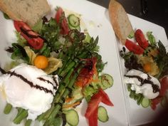 Poached Egg and Grilled Asparagus Salad by #doLci