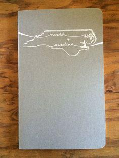 Hand-Printed North Carolina Moleskine by PrintsandPrintcess