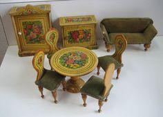 Antique miniature German dollhouse paper litho floral furniture from sondrakruegerantiques on Ruby Lane
