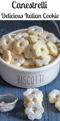 Canestrelli a wonderfully delicious Italian Cookie, an almost shortbread type cookie but with a crunch, fast and easy. The perfect afternoon tea cookie. Italian Cookie Recipes, Italian Cookies, Italian Desserts, Easy Cookie Recipes, Cookie Desserts, Easy Desserts, Sweet Recipes, Baking Recipes, Delicious Desserts