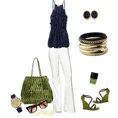 Navy and Green, created by pamela-barrett-williamson.polyvore.com