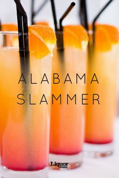 Old-School Drinks We Love: Alabama Slammer! Its origins are a mystery. Its deliciousness is undeniable.Old-School Drinks We Love: Alabama Slammer! Its origins are a mystery. Its deliciousness is undeniable. Fancy Drinks, Cocktail Drinks, Vodka Cocktails, Amaretto Drinks, Tequila Drinks, Malibu Rum Drinks, Martinis, Sloe Gin Drinks, Peach Schnapps Drinks