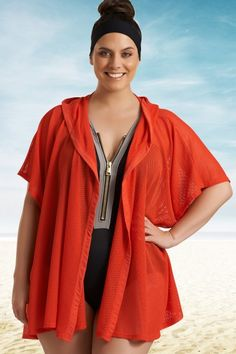 3e4461085a Cover-up: Timothy Snell Marlowe Hooded Kimono for Always For Me Trendy Plus  Size