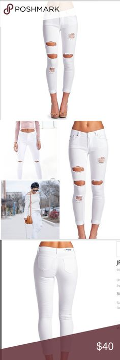 White distressed ripped jeans Price firm! While the white pants always seem to make a statement they are also known for great Quality they won't shrink on you and they are Very true to size. 2 pockets in the front, 2 in the back. They also give your bottom a lil lift.. Grab you a pair. Trust me you won't be disappointed. Boutique Jeans Skinny