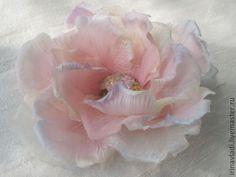 Купить Цветы из шелка. Брошь заколка РАДУЖНОЕ ОБЛАЧКО . Натуральный шелк. - цветы из шелка