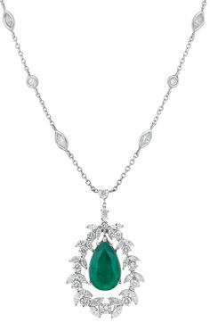 White Gold, Emerald and Diamond Pendant Chain Necklace from a Doyle New York auction