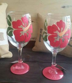 Mother's Day Gift Flower Wine Glass Hibiscus by GrayWineDesign
