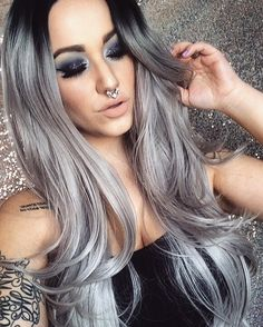 Long Grey Ombre Silver Roots Lace Front Lush Wig - Worldwide Tracked Delivery