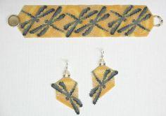 Dragonflies in Amber Bracelet & Earrings, Sova Enterprises