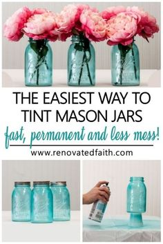 Forget painting mason jars with Elmer's glue or mod podge! This is the easiest way to tint glassware or lanterns any color without messy food coloring & they are waterproof! Tinting mason jars blue is just part of this easy DIY tutorial as it shows how to make the lids look vintage & rustic with paint. Make centerpieces with pink peonies or containers for Christmas gifts. You can also make pink painted mason jars for baby showers! Tinting Mason Jars Diy, Spray Paint Mason Jars, Tinted Mason Jars, Frosted Mason Jars, Colored Mason Jars, Blue Mason Jars, Mason Jar Crafts, Mason Jar Diy, Dollar Store Crafts