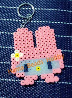My Melody keychain hama perler beads by Love Cupcoonka - www.facebook.com/hamabeadshobby