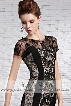 Black Convertible Leather Cocktail Prom Evening Dress CX830305 | JoJos