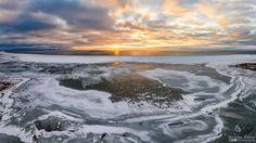 Aerial photo of golden sunset in Estonia. Varbla beach 2016.