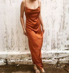 *Elegant burnt orange silk dress, 90 colors available, there no extra cost to do custom size and color. Silk Bridesmaid Dresses, Orange Bridesmaid Dresses, White Bridal Dresses, Satin Dresses, Bridesmaids, Ball Dresses, White Silk Dress, Brown Satin Dress, Silk Satin Dress
