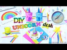 5 DIY Unicorn Style Desk Organization Ideas - How To Decorate Your Desk Every Unicorn Would Like. In this video I show 5 desk decor and organization DIY projects: how to make DIY Unicorn Stationery Organizer, Shooting Star Pencil Topper and Coaster Fun Crafts For Kids, Easy Diy Crafts, Diy Craft Projects, Fun Diy, Desk Organization Diy, Kawaii Diy, Craft Desk, Pencil Toppers, Diy School Supplies