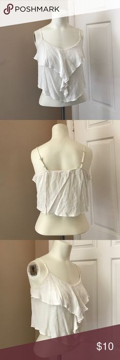 Love Tree Happens Crop Top Gently worn, good condition. Ruffle tank. Adjustable straps. Great paired with jeans or high waisted shorts. Urban Outfitters Tops Crop Tops