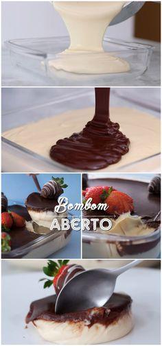 BOMBOM ABERTO DE NINHO NA TRAVESSA   SOBREMESA RÁPIDA #bombom #chocolate #morango #ninho #sobremesas #receita #gastronomia #culinaria #comida #delicia #receitafacil
