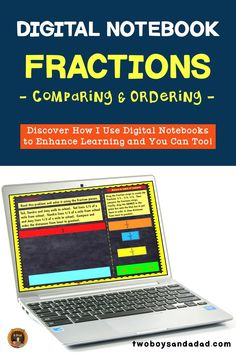 Incorporating digital notebooks for math practice for fractions is an effective way for students to practice using digital tools similar to online testing. The Google Slides templates in this digital interactive notebook provide appropriate grade level practice with the Common Core Standards for Math. Students will practice comparing fractions. Discover and learn more about how to incorporate digital notebooks. #twoboysandadad #chromebook #ipad #digitalnotebook #googledrive #math… Comparing Fractions, Teaching Fractions, Teaching Math, Multiplication Games, Math Strategies, Teaching Resources, Math Tips, Teaching Ideas, Math Teacher