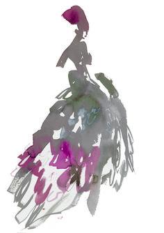 Dior - by house artiste bil donovan.  fashion illustration