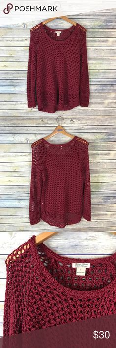"Lucky Brand Red Chunky Loose Knit Sweater Super pretty solid red (almost maroon) long sleeve sweater. Chunky see through knit. Gently used condition! Perfect for fall as well as the holiday season.   Measurements laying flat (without stretching)-- -Armpit to armpit: 22"" -Length, shoulder to hem: 22"" Lucky Brand Sweaters"