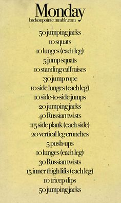 Monday daily workout! (all week is on the same page but I'm pinning them separately)
