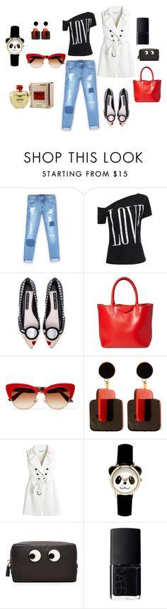 """funny"" by natausik on Polyvore featuring мода, Bebe, Alice + Olivia, Givenchy, Dolce&Gabbana, Marni, White House Black Market, Anya Hindmarch, NARS Cosmetics и Moschino"