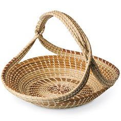 Charleston, SC, Sweetgrass Baskets are coiled baskets made of sweetgrass harvested in the spring and summer on the edge of the dunes near the ocean, often decorated with longleaf pine needles and woven together with strips of palmetto leaves.