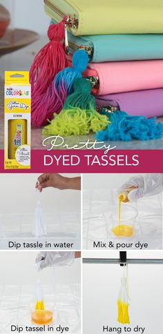 Dip dyeing tassels is as easy as it sounds with Tulip Custom ColorLab available . Simply wet your tassel, pour your dye and dip! Add another color for an ombre effect if you crave lots of color. Yarn Projects, Diy Craft Projects, Crochet Projects, Craft Ideas, How To Tie Dye, How To Dye Fabric, Yarn Crafts, Diy Crafts, Yarn Storage