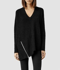 Women's Able Zip Jumper from AllSaints #sweater #black #fashion #style